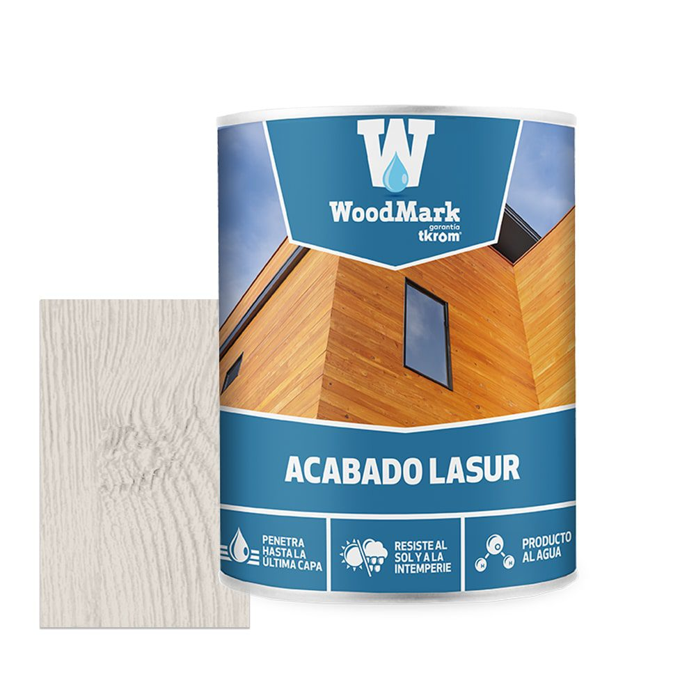 Lasur al agua color blanco de acabado satinado Woodmark 1   Potspintura.com